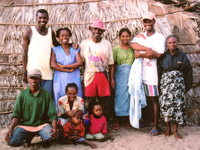 Mahabana, September 2004-- Josy (2nd from right) with his newborn baby girl, Josya, wife Ana, (in green), and the only time Josy's mom saw the remote village of Mahabana (in black jacket)